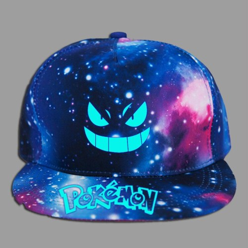 Unisex Caps Pokemon Letter Print Black&Galaxy Print Hats Sun Protection Casual Cap For Girls And Boys Drop Shipping