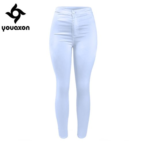 1888 Youaxon Women`s High Waist White Basic Casual Fashion Stretch Skinny Denim Jean Pants Trousers Jeans For Women