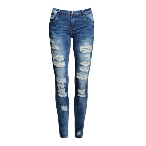 Women's Jeans Solid Color Distressed Skinny Jeans