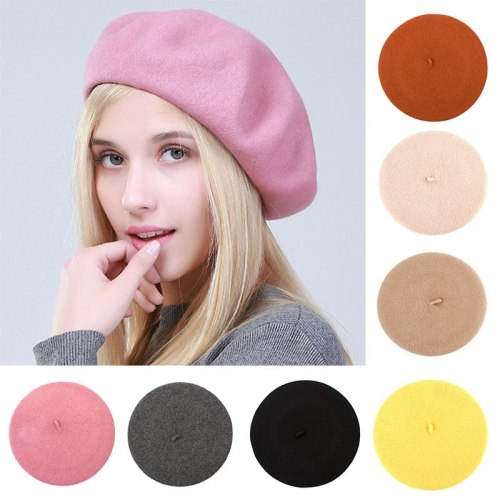 Women's Beret Hat Fashion Solid Warm Wool Berets for Women Candy Color Cashmere French Artist Beanie Beret Hats for Girls GS102C