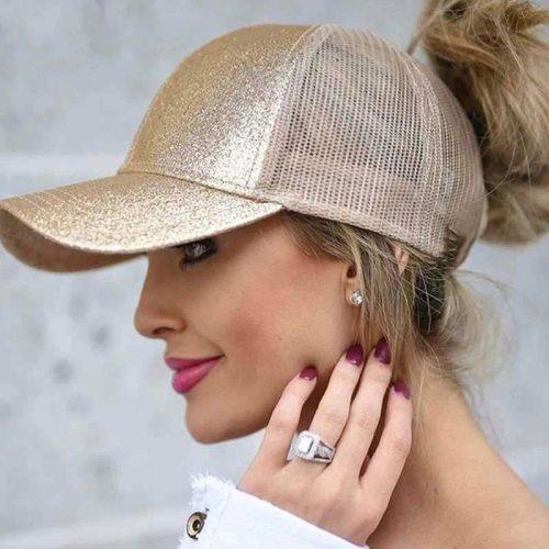 2019 Glitter Baseball Cap Women Mesh Ponytail Caps Glitter Snapback Caps Female Sport Cap Convenient Mesh Trucker Dad Hat