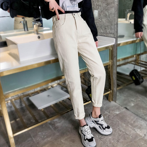 GCAROL 2019 Spring Fall Elastic Waist Retro Old Pants Ankle Length First Love Loose Vintage Straight Pants Plus Size 25-32