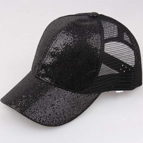 2018 Women Ponytail Baseball Cap Mesh Sequins Shiny Bun Women Snapback Hat Sun Caps Women's Adjustable Cap