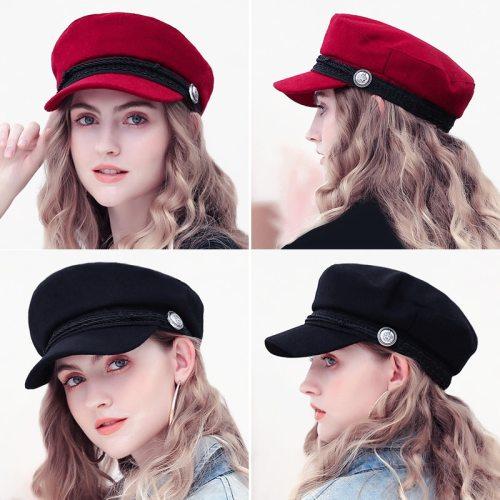 Winter Berets Hats For Women Octagonal Cap Wool Button Rope Visor Baseball Caps Female Casual Streetwear Baker's Boy Hat Gorras