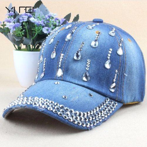 New Denim Hip Hop Caps Fashion Leisure Woman Cap With Water Drop Rhinestones Vintage Jean Cotton Baseball Caps For Men Hot Sale