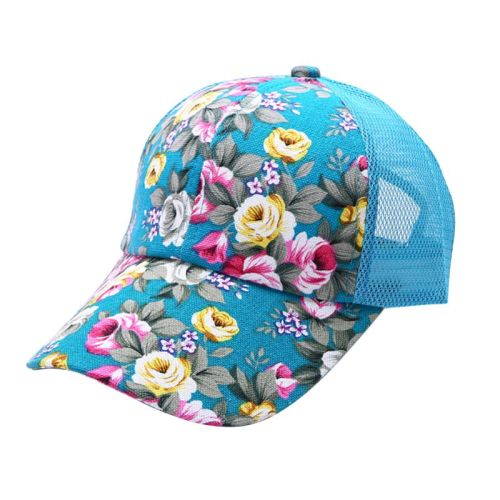 Summer Women Female Floral Hat Baseball Cap Mesh Cool Cap Sports Leisure Sun Visor Sun Hat Snapback Cap 6 Colors
