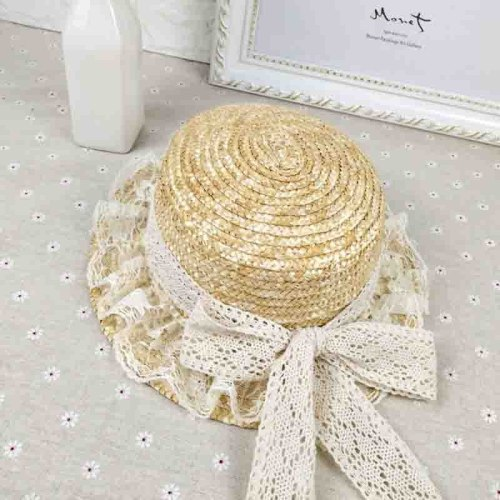 Summer straw Fedoras fashion outdoor beach big hats lace bow caps and literary personality of the student cap free shipping sale