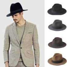 Fashion 100% Wool Wide Brim Winter Autumn Men Felt Trilby Fedora Hat For Gentleman Top Cloche Panama Sombrero Cap 58CM