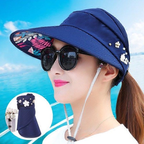 Ymsaid Summer Sun Hats Women Foldable UV Protection Sun Hat Visor Suncreen Floppy Cap Chapeau Femme Outdoor Beach Hat