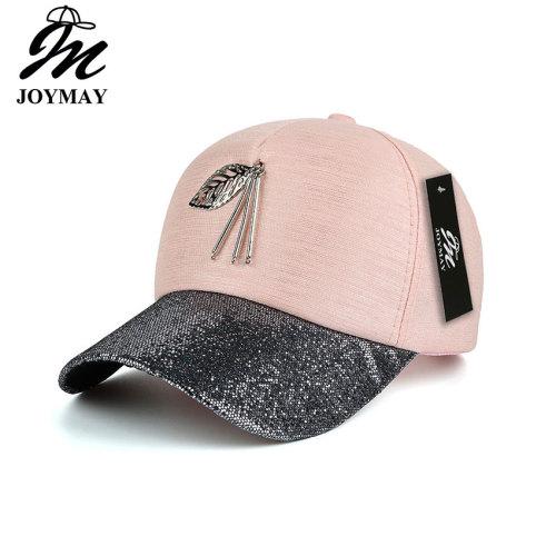 JOYMAY  New arrival high quality fashion women snapback cap metal leaf  bling visor baseball cap  B423