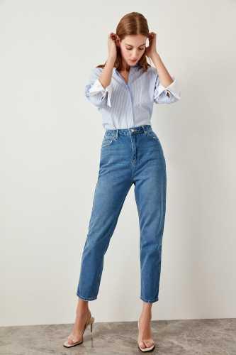 Trendyol Blue High Waist  Mom  Jeans Casual Straight-led Denim TCLSS19LR0047