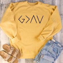God Is Greater Than The Highs and Lows Women Sweatshirt Full Sleeve Believe Female Jesus Jumper Christian Pullover Drop Shipping