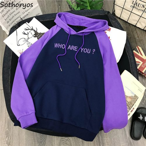 Hoodies Women Hooded 2019 Winter Thicker Plus Velvet Letter Printed Patchwork Leisure Sweatshirts Womens Korean Style Pullovers