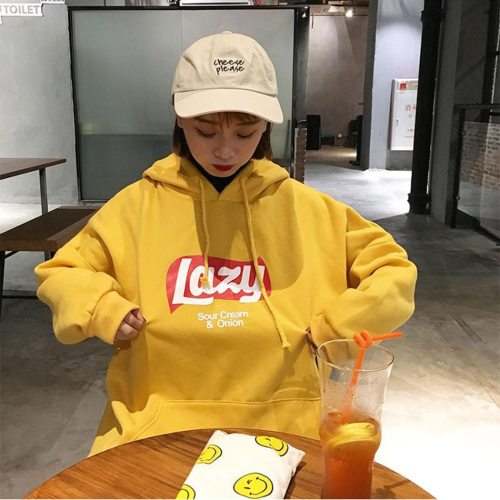 Women Cute Lazy Letter Yellow Hoodie Sweatshirt Fashion Harajuku Loose Fleece Sweatshirt Tops Korean Hooded Tracksuit Meletom