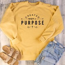 Created with A Purpose Graphic Sweatshirt Christian Religion Aesthetic Hoodie Women Pullovers Top Jesus Clothes Drop Shipping