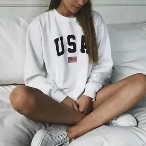 2019 Fashion Women Long Sleeve Hoodies Loose Sweatshirt USA Letter Printed Pullovers Top Casual White Hoodie Friends Streetwear