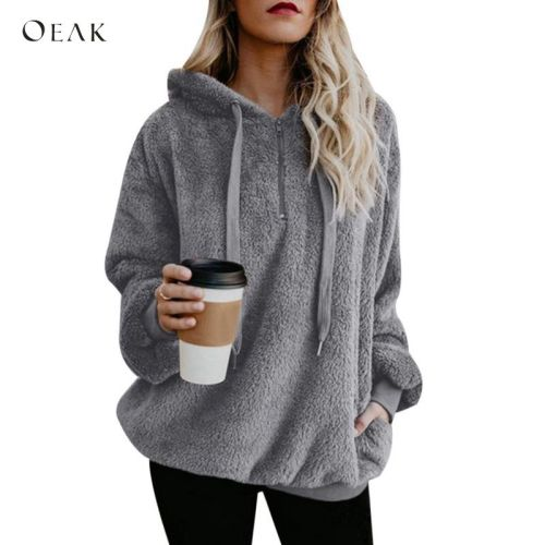 OEAK Women Fleece Hoodies 2018 Long Sleeve Hooded Pullover Sweatshirt Autumn Winter Warm Zipper Pocket Fur Coat Plus Size 5XL