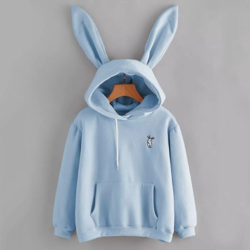 Feitong 2019 Harajuku Hoodies Women Long Sleeve Rabbit Embroidered Sweatshirt Pullover Autumn Lovely Rabbit Ears Jumper #L
