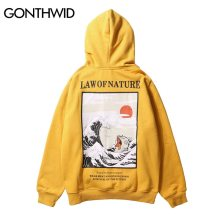 GONTHWID Japanese Embroidery Funny Cat Wave Printed Fleece Hoodies 2019 Winter Japan Style Hip Hop Casual Sweatshirts Streetwear