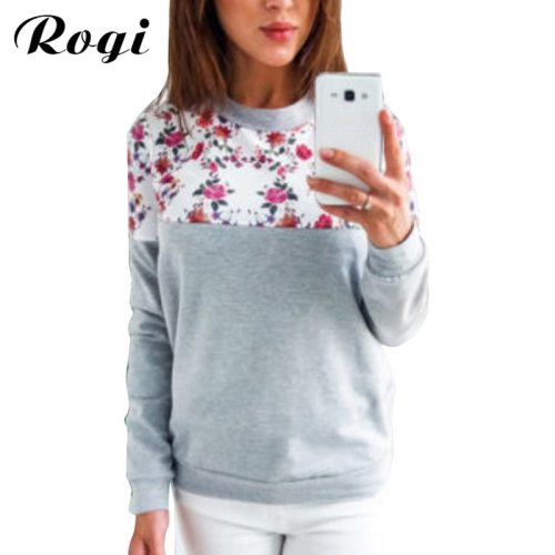 Rogi Floral Print Hoodies Women Pullovers 2019 Spring Harajuku Jumper Thin Sweatshirt Tops Casual O-Neck Tracksuit Plus Size Top