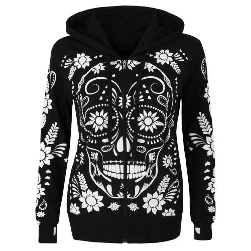 Oversized Hoodies Sweatshirt Women Streetwear Skull Floral Print Hoodie Women Fashion Clothes Kawaii Clothing