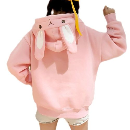 Kawaii Sweet Rabbit Ears Hooded Sweatshirt Women Harajuku Hoodies Loose Embroidery Cartoon Tracksuits Pullovers Moletom Plus XXL