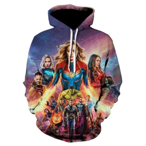 3D Printed Avengers Endgame Quantum Realm Cosplay Costume Sweatshirt Superhero America Captain Marvel Zipper Jacket Hoodie