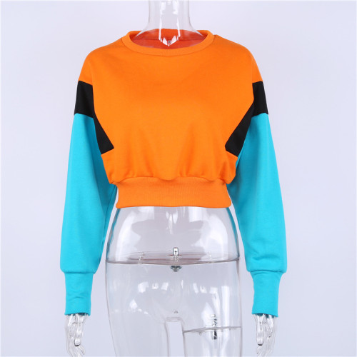 NCLAGEN Fashion Women Spring Autumn Cute Pinkycolor Orange Hoodies Long Sleeve Loose Crop Top Sweatshirt Casual Patchwork Cloth