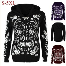 2018 Autumn Women Hoodies Long Sleeve Skull Print Hooded Pullover Winter Ladies Sweatshirts Blouse Tops Shirt Plus Size 5XL