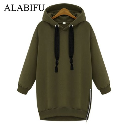 Autumn Winter Long Sweatshirts Women 2019 BF Hoodies Sweatshirts Casual Zipper Plus Size 5XL Vintage Jacket Coat