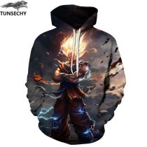 TUNSECHY Anime Hoodies Dragon Ball Z Pocket Hooded Sweatshirts Goku 3D Digital printing Men Women Long Sleeve New Hoodie
