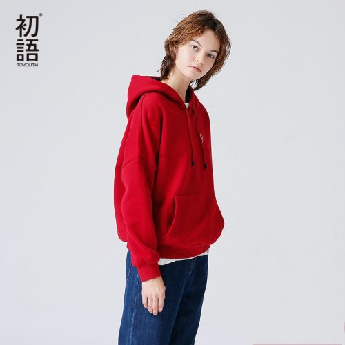 Toyouth Hooded Sweatshirts Women 2019 Autumn Winter Fleece Hoodie Letter Embroidery Solid Color Loose Tracksuit With Pocket