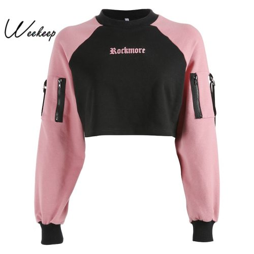 Weekeep Women Patchwork Letter Print Hoodies Cropped Streetwear Long Sleeve Sweatshirt Black Pink Knitted Loose Pullover Hoodie