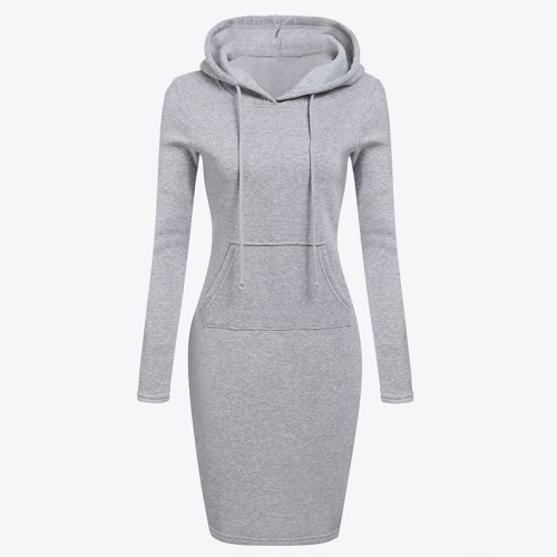 Velvet Hooded Hoodies Dress Women 2019 Autumn Winter Sweatshirts Long Sleeve Hoodies Pockets Sweatshirt Hoody Pullovers Dresses