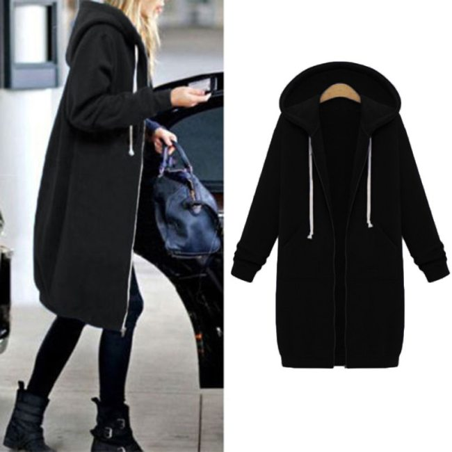 Autumn Winter Casual bts Hoodie Zipper Long Coat Sweatshirt Women Plus Size 5XL Casual Loose Oversized Jacket Coat Women Hoodies