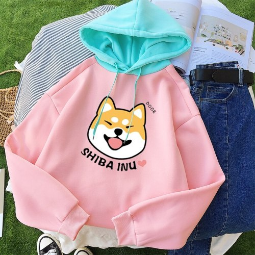 Autumn Winter Pullover Women Fleece Kawaii Cartoon Shiba Inu Sweatshirt Hoodies Fashion Casual Harajuku Dog Print Female Outwear