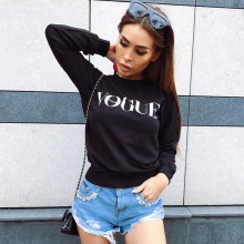 2017 Women Fashion Brand Hoodie VOGUE Letter Print Sweatshirt Knitted Long Sleeve Pullovers Polerones Mujer Harajuku Tops