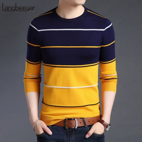 2019 New Fashion Brand Sweater Mens Pullover Striped Slim Fit Jumpers Knitred Woolen Autumn Korean Style Casual Men Clothes