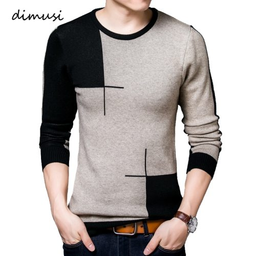DIMUSI Spring Autumn Men's Sweater Men's Turtleneck Breathable Casual Sweater Mens O NeckSlim Fit Brand Knitted Pullovers,TA318