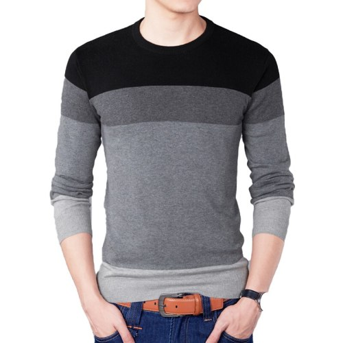 2019 Autumn Fashion Brand Casual Sweater O-Neck Striped Slim Fit Mens Sweaters Pullovers Men Pull Homme Contrast Color Knitwear