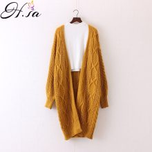H.SA Winter Autumn Long Female Cardigans Latern Sleeve Casual Knitted Poncho Sweaters Oversized Long Cardigans Korean sueter