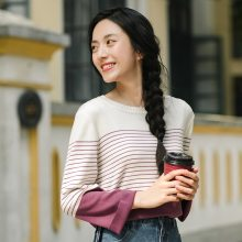 INMAN Women Autumn Clothes Loose Striped Pullovers Women Thin Knit Pullover Sweaters Tops