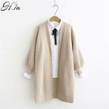 H.SA Spring Sweater Cardigans Women 2019 V neck Lantern Sleeve Open Stitch Loose Sweater Jacket Cheap Clothes Female Knit Coat