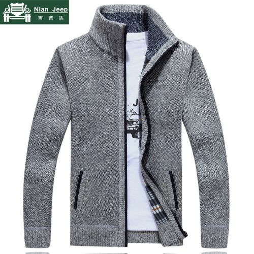 2019 New Sweater Men Autumn Winter SweaterCoats Male Thick Faux Fur Wool Mens Sweater Jackets Casual Zipper Knitwear Size M-3XL