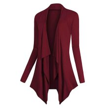 Sweater Women Solid Drape Front Open Irregular Casual Cardigan Thin Coat Tops Outcoats Winter Clothes Cardigan Ladies Wild Coat