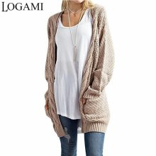 LOGAMI Long Cardigan Women Long Sleeve Knitted Sweater Cardigans Autumn Winter Womens Sweaters 2017 Jersey Mujer Invierno