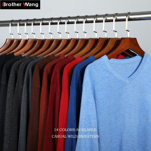 14-Color 2019 Autumn New Men Knitted Pullover Cashmere Sweater Casual Business V-Collar Thin Slim fit Sweaters Brand Clothes