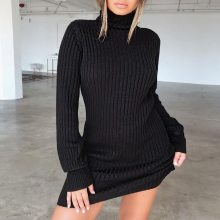 fashion winter autumn  Womens Casual Long Sleeve Jumper Turtleneck Sweaters Dress
