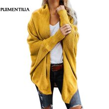 Puimentiua Autumn Winter Batwing Sleeve Knitwear Cardigan Women Large Size Knitted Sweater Cardigan Female Elegant Jumper Coat