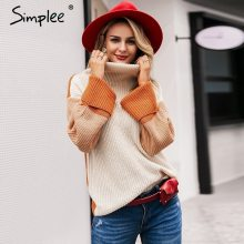Simplee Patchwork turtleneck knitted sweaters female Casual long sleeve korean pullover jumper Women streetwear ladies sweater